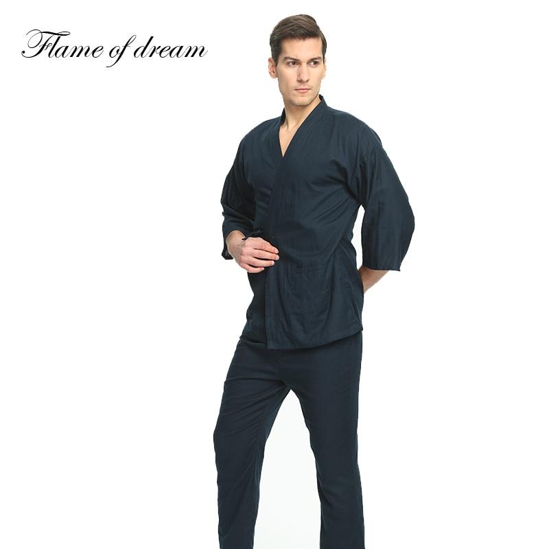 100% Cotton  Japanese Pajamas Mens Pajamas For Men Pijamas Hombre Men Pijama Cotton Men's Pajamas Kimono 356