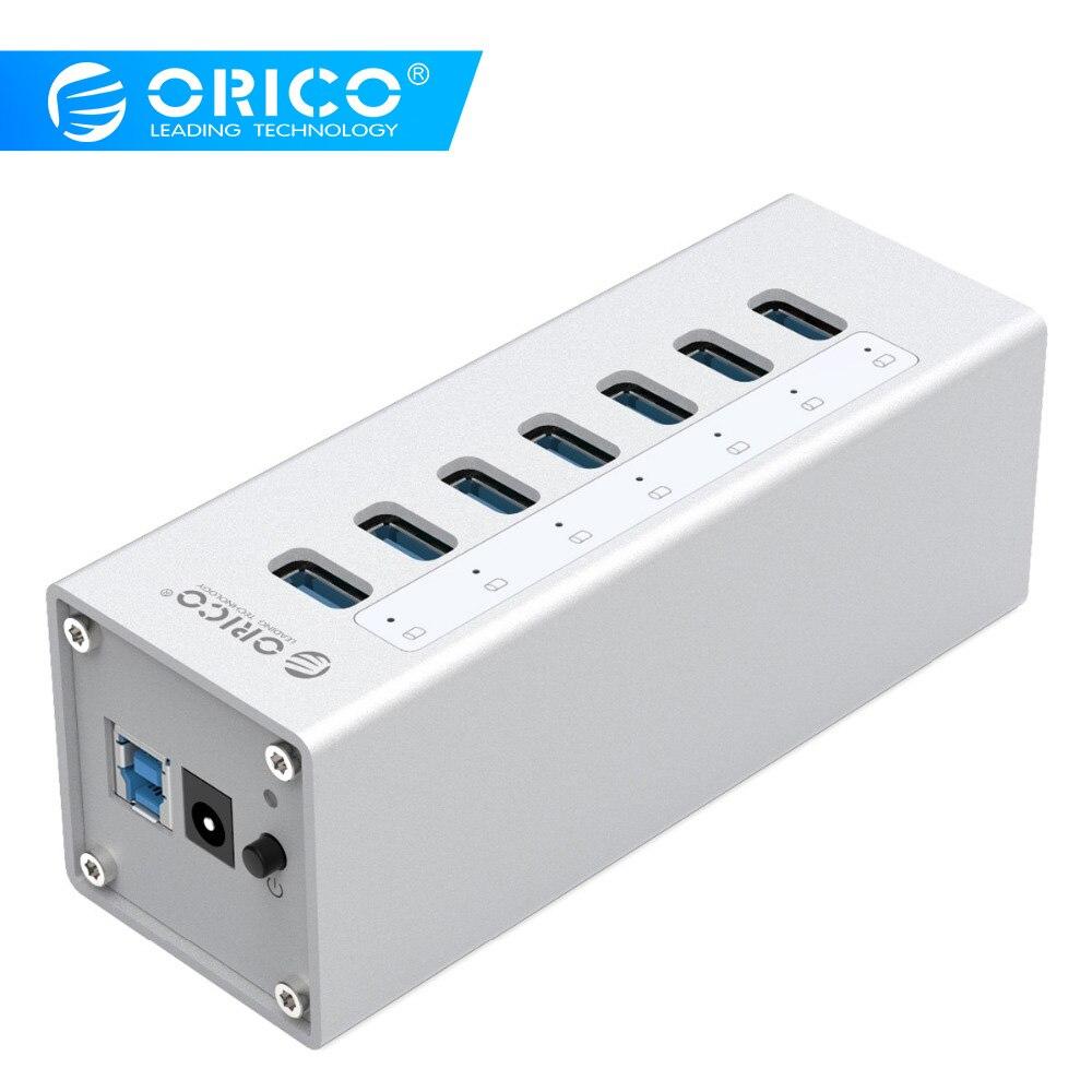 Répartiteur de moyeu USB en aluminium à grande vitesse ORICO moyeu USB 3.0 à 7 ports avec adaptateur d'alimentation 12V2. 5 pour Windows Mac OS PC/ordinateur portable-argent