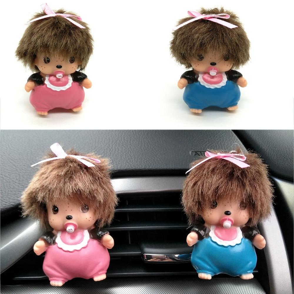 CNIKESIN 4PCS font b Car b font Perfume Monchichi Doll Perfume Seat font b Car b