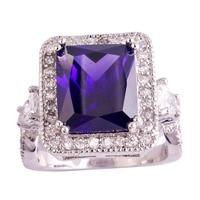 lingmei Noble Jewelry For Women Men Emerald Cut Amethyst White Topaz 925 Silver Ring Size 6 7 8 9 10 11 Wholesale Free Shipping