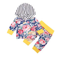 Adorable Newborn Baby Boy Girl Clothes Set Floral Autumn Long Sleeve Hooded Tops Long Pants Children