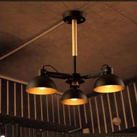 Retro rustic iron dining room pendant Lighting Club Inn pipe pendant wood lamp Kitchen wooden pendant Lamps suspension lustre