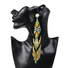 Bohemian Handmade Beaded Long Fringe Tassel Earrings For Women Colorful Beads Drop Earrings Wedding Party Fashion Jewelry Bijoux beaded chain colorful fuzzy ball drop earrings