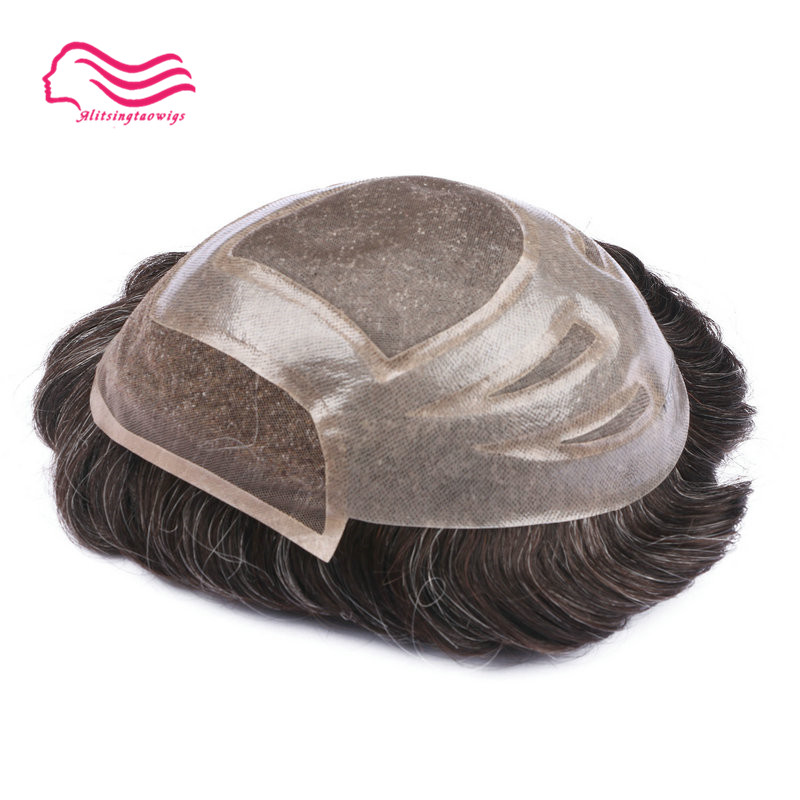 Top quality swiss lace front with fine mono men toupee Versalte brand front lace toupee hair