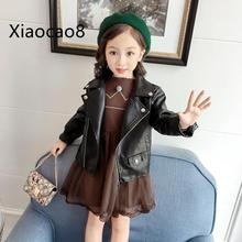 Spring Autumn kids black pu leather jacket girls windproof fashion outwear coats children baby girl warm clothes ages 3-9 Years стоимость