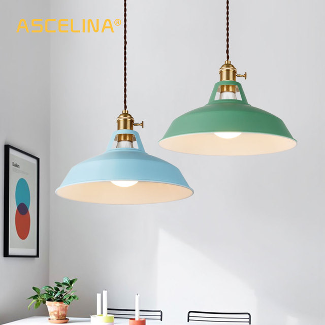 2 Pieces Pendant light,Modern pendant lamp,multiple colour luminary,Loft hanging lamp,knob Switches,E27 base,for home&store