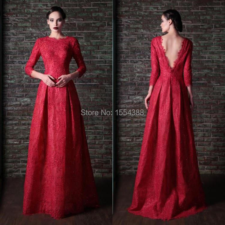 Popular Dark Red Lace Prom Dress-Buy Cheap Dark Red Lace Prom ...