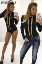 2016 summer autumn new cotton sexy hollow out bodysuits gauze clothes bars solid black shirts collar slim long sleeve leotard