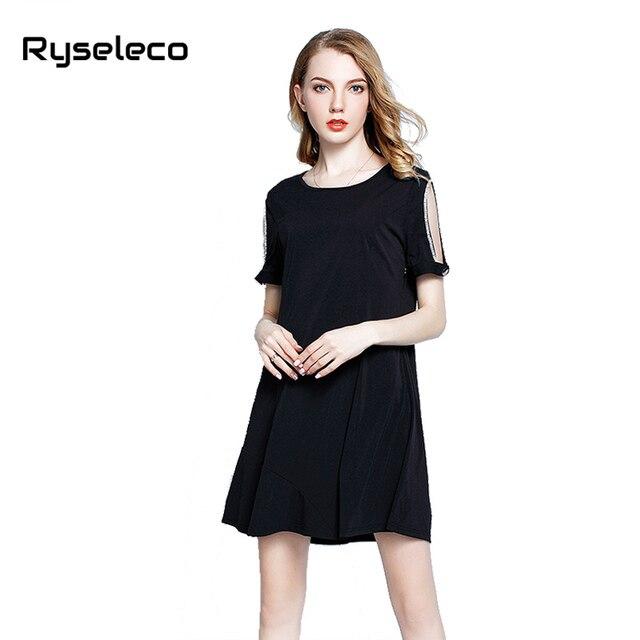 Ryseleco Wholesale Women 2017 Summer Casual Dresses Loose Elegant Solid Black Cold Shoulder Diamonds Beading Short Mini Vestidos