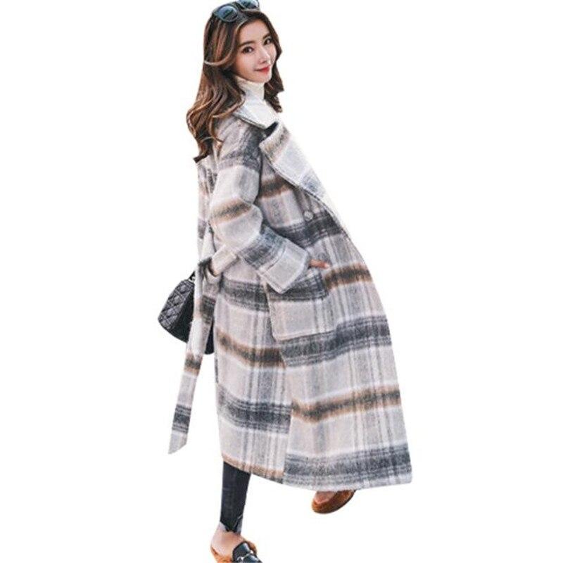 Alta moda 2018 primavera e delle donne di inverno super per il tempo libero 80% cashmere tessuto di lana reticolo allentato allentato coda di cavallo lungo cappotto S XXL