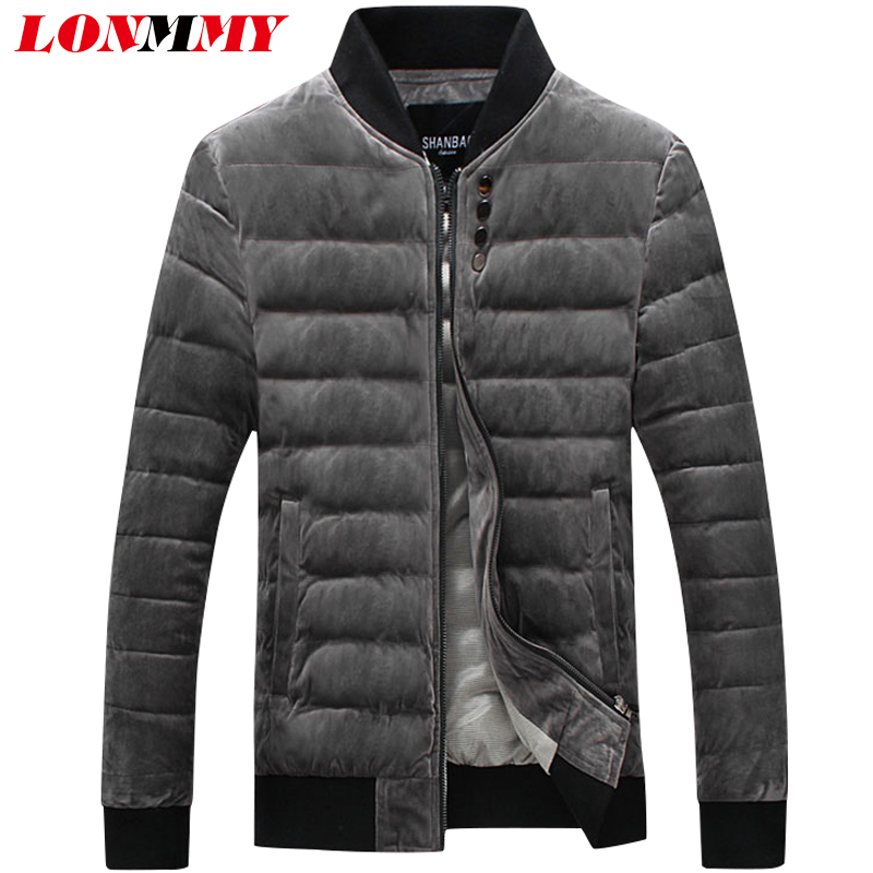 LONMMY 5XL Winter jackets mens Outerwear Thicken coats Causal parka men Slim fit fashion Button design overcoat Gray Blue 2017