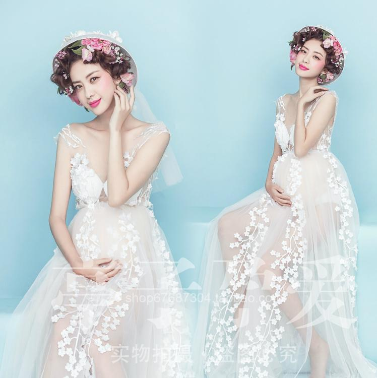 Maternity Photography Props Pregnant Women Noble Long white Elegant Dress Romantic Photo Shoot Fancy costume free shipping maternity pregnant women photography fashion props long dress white romatic see through personal portrait nightdress size s l