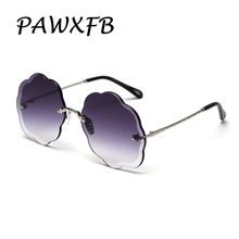 PAWXFB 2019 Big Frame Rimless Sunglasses Women Gradient Sun Glasses Ladies Oculos de sol Shades S31289