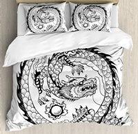 Dragon Duvet Cover Set Ethnic Asian Japanese Swirled Dragon Pattern Folk Heritage Spiritual Illustration 4 Piece Bedding Set