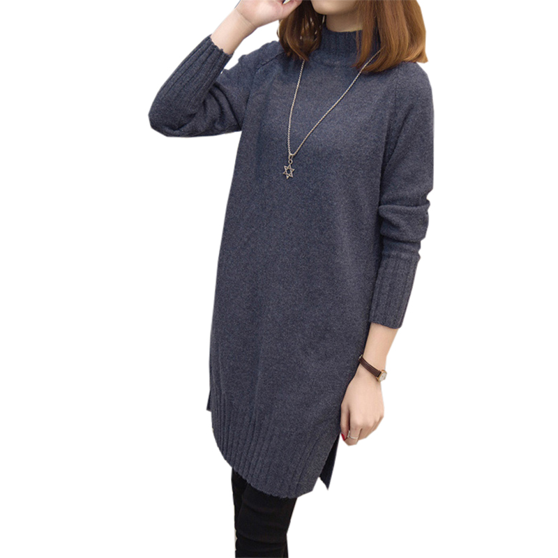 Turtleneck Collar Knitted Sweater Dress 2016 New Autumn and Winter Women Thick Sweater Knit Dress Vestidos FP0110 tommy hilfiger new women s medium m blue combo cable knit sweater dress $98 017