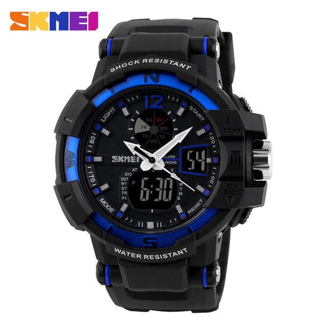 Moda do Menino Dos Homens de Esportes 50 M À Prova D' Água SKMEl W080305 Multifunções Relógios de Pulso de Quartzo