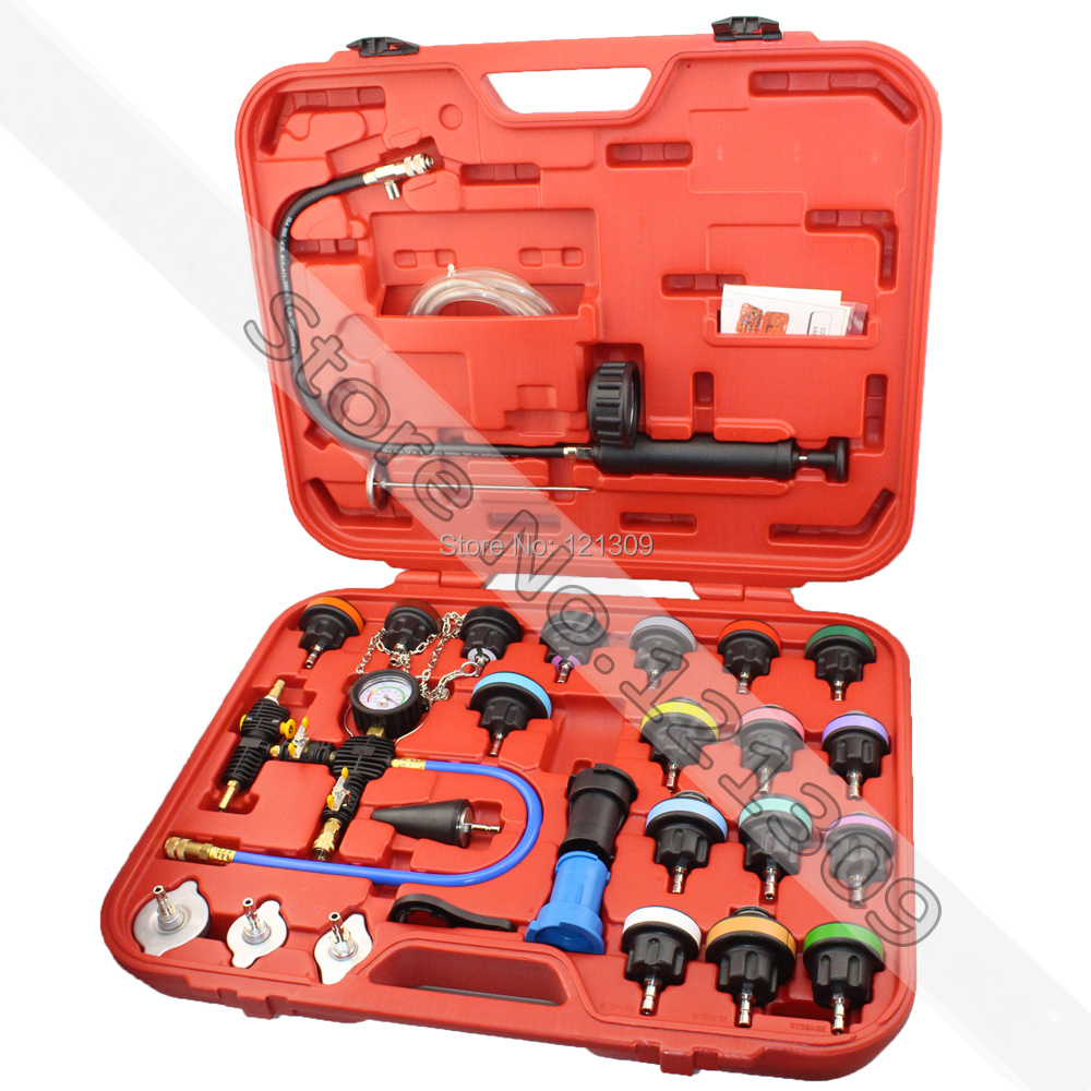 28pc Universal Coolling System Radiator Pressure Tester & Vacuum Type Water Tank Water Replacement Kit