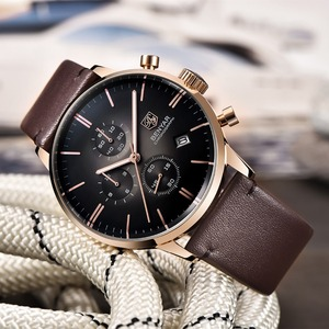 Image 5 - BENYAR Mode Luxe Merk mannen Lederen Horloge Zaken Quartz Horloge Roestvrij Staal Waterdicht Horloges erkek kol saati