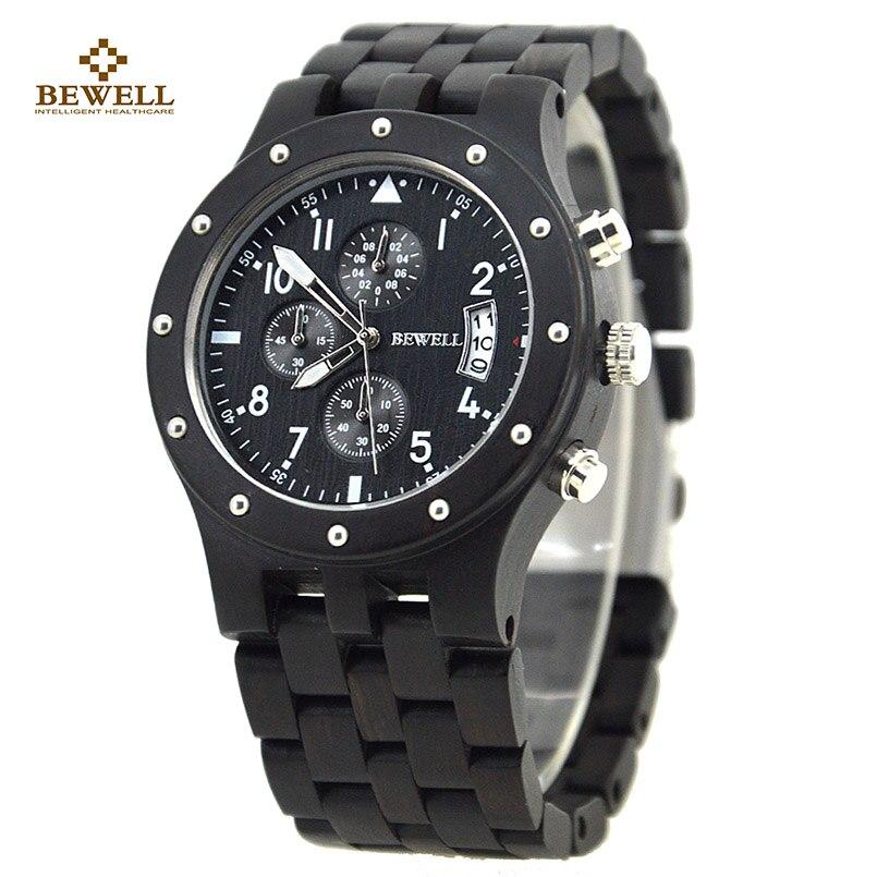 Holz Uhr BEWELL Rotem Sandelholz Luxus Einfach Quarz Uhren Designer männlichen Freund für Männer Armbanduhr mit Feinen Box als Geschenk 109D