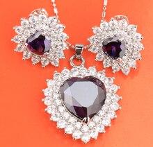 Love Heart Purple Zircon Hot White 925 Sterling Silver Jewelry Sets Earring Pendant Ring S8182