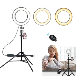 LED Ring Light 6 in 16cm 3200-5600K 64 LEDs Photo Studio Selfie Ring Lamp Photographic Lighting with Tripod Moblie Phone Clamp