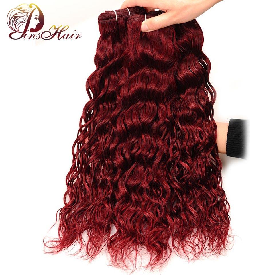 Pinshair бордовый перуанский воды волна волос 3 Связки красный 99j 100% Человеческие волосы Связки волна воды ткань не Реми не путать не сарай ...