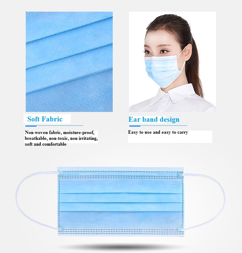 2017New Wholesale 500Pcs/Pack Independent Package Medical 3-Ply Disposable Mouth Mask Proof Dust Smog Harmful Air Surgicle Usage