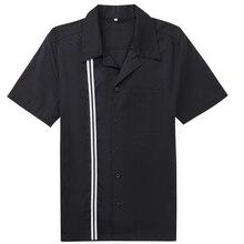 Летняя повседневная мужская рубашка с короткими рукавами в стиле панк рокабилли черная и белая ткань в полоску мужская рубашка с принтом от Candowlook