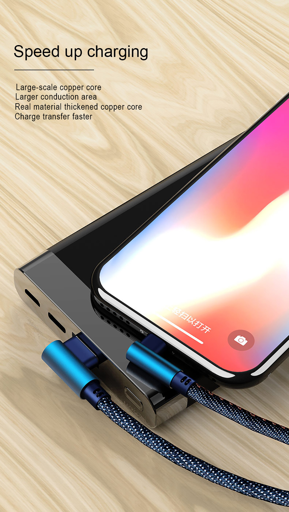 NOHON 90 Degree Denim USB Charge Cable For iPhone X XS MAX XR 8 7 6 6S 5 5S Plus Lighting Charging Data Cable For Ipad Mini 1 2M (9)