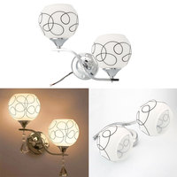 Double Crystal Pendant E27 Bulb Lamp Cover Lampshade Bedroom Wall Light Shade