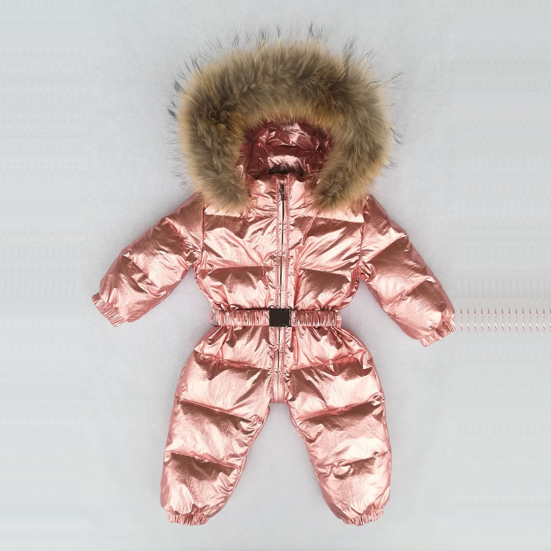 -30 Degrees Russian Winter Boys Girls 1-3Y Winter Overalls Baby Rompers Duck Down Jumpsuit Real Fur Collar Children Outerwear