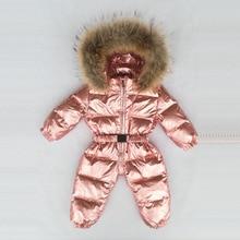 30 degrés russe hiver garçons filles 1 3Y hiver salopette bébé barboteuses canard vers le bas combinaison vraie fourrure col vêtements dextérieur pour enfants