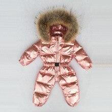 30 grados ruso invierno niños niñas 1 3Y monos de invierno bebés peleles pato abajo mono cuello de piel Real niños prendas de vestir exteriores