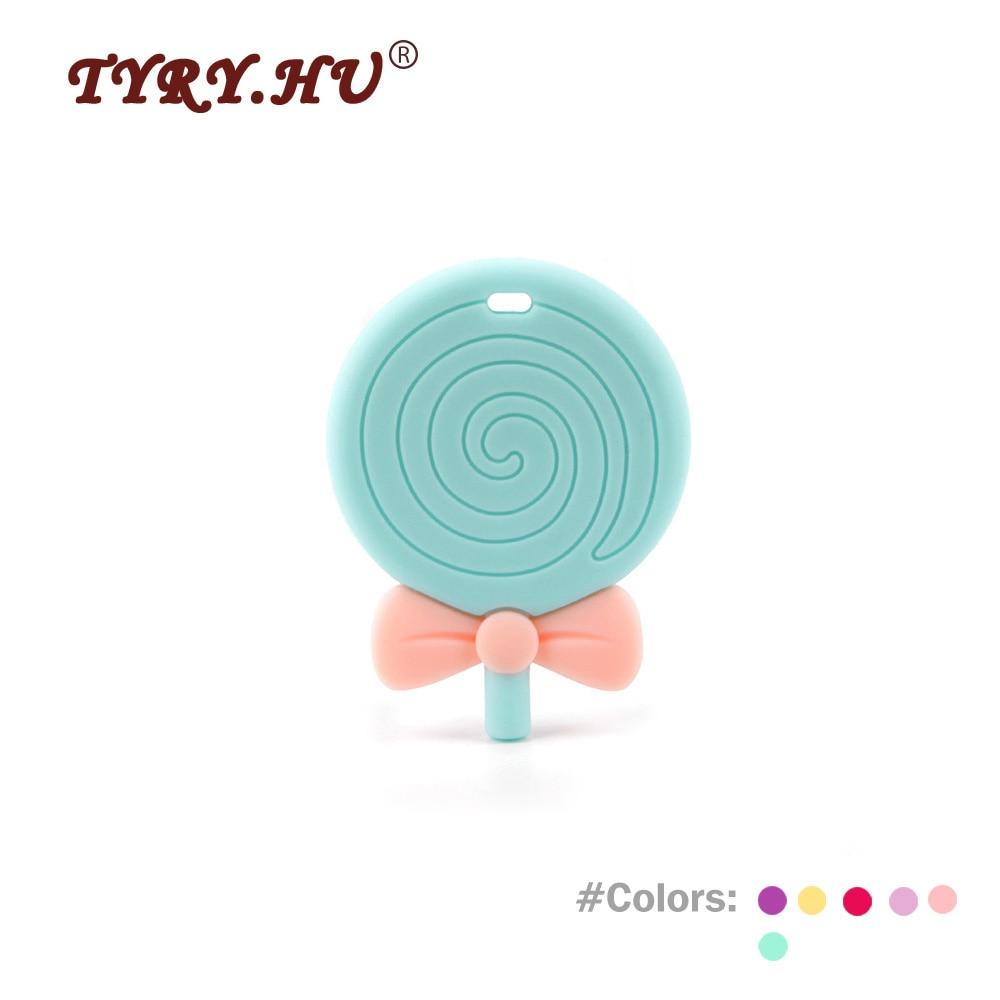 TYRY.HU 1Pc Lollipops alakú szilikon Baby Teethers Bpa Ingyenes DIY - Babaápolási