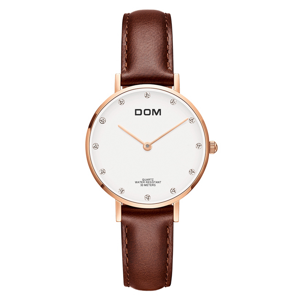 DOM Brand Quartz watch Casual Water Resistant thin wrist watch clock women's watches