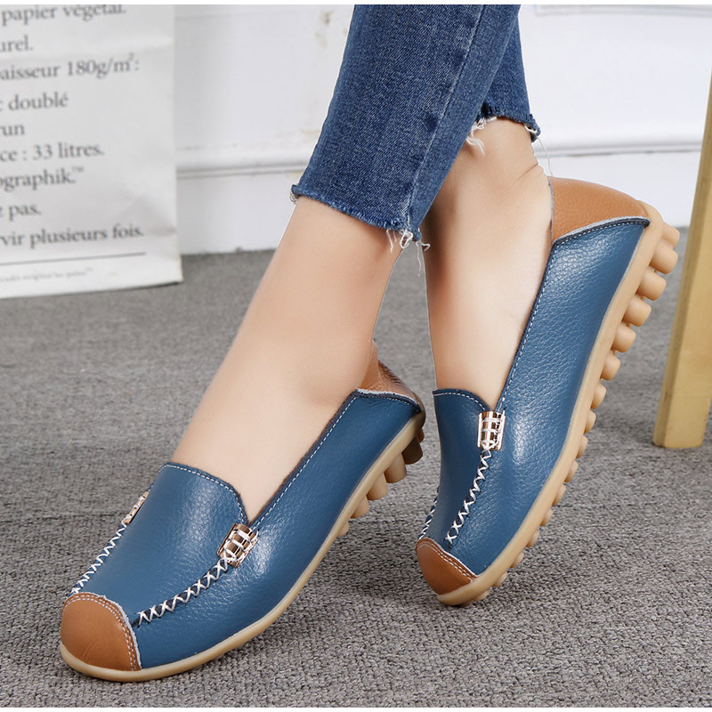RYAMAGY Plus Size Women Flat Platform Shoes Slip on Genuine Leather Female Loafers Casual Sewing Shallow 2018 Ladies Footwear female loafers new lace mother flat shoes fashion shallow mouth ladies peas shoes tendon casual women leather shoes plus size