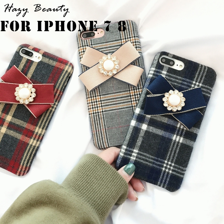 Fashion women Winter British Check Cloth Phone cases with Bowknot For iphone 7 8 4.7 inch case Fundas for iphone7 capa 1811702 ...