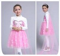 High Quality Custom Children Dress For Girls Anna Elsa Elza Dress Kids Princess Girl's Baby Party Children Clothing Gift Dresses