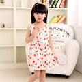 Kids Cute Spring Summer Dress Girls Cotton Sleeveless Cherry Pattern Print Princess Dress
