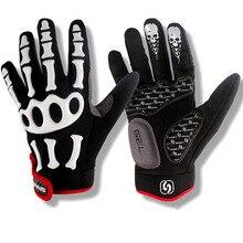Бренд силиконовый гель полный палец велосипедные перчатки Череп велосипед мужские слипоны для MTB езда пот черный с белым m, L, XL