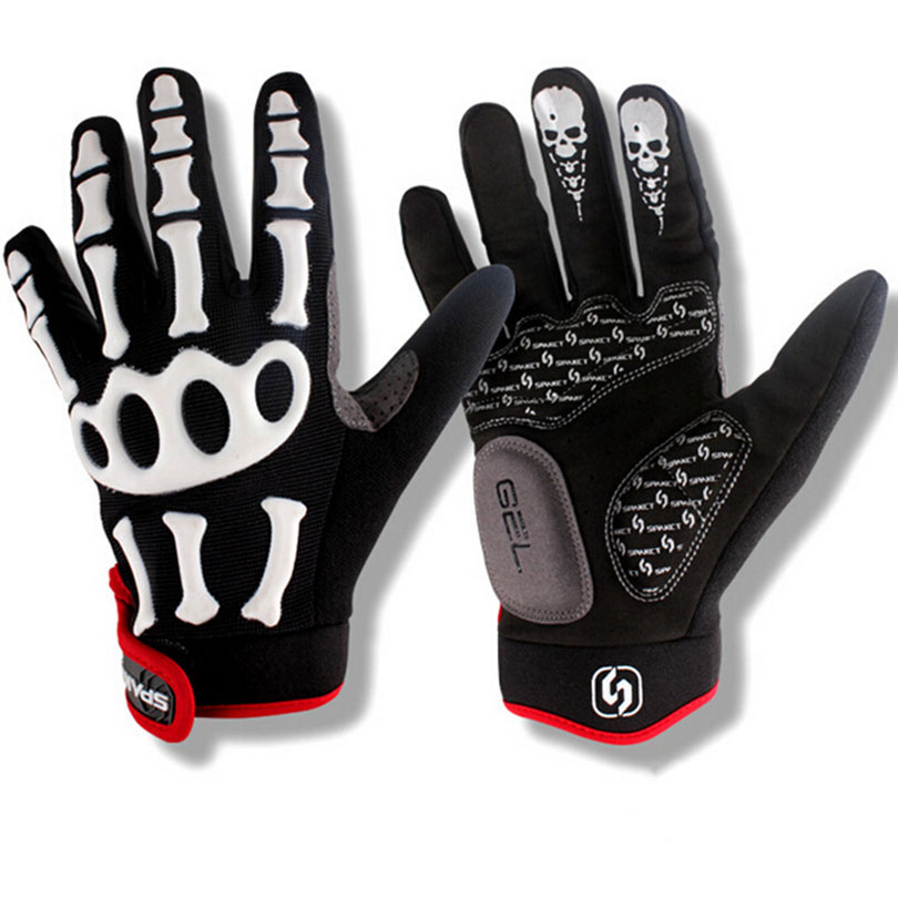Brand Silicone GEL Full Finger Cycling <font><b>Gloves</b></font> Skull Bike Bicycle Men Slip for mtb riding sweat Black with white M,L,XL