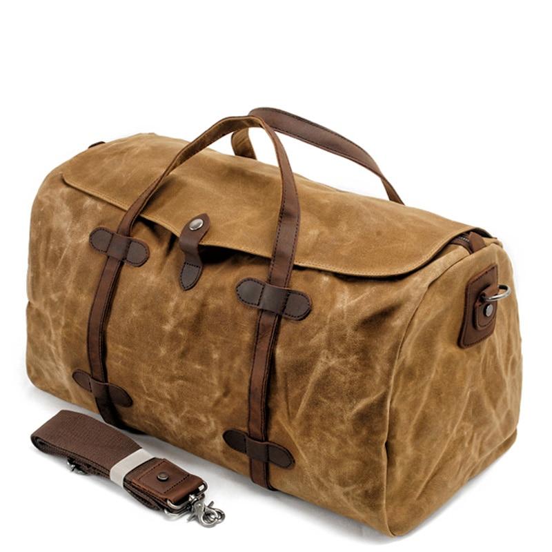 0c028ec5a998 MUCHUAN Винтаж натуральный хлопок холст кожа путешествия вещевой сумки  большой ёмкость выходные сумка ночь для мужчин ручной клади