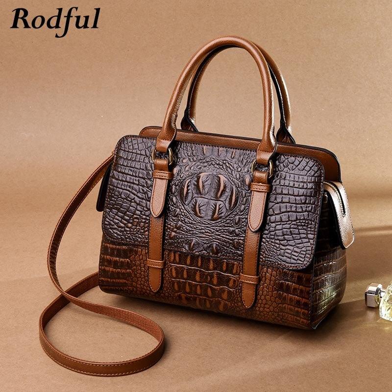 Rodful crocodile sacs femmes sacs à main en cuir véritable de sac à main fourre-tout femme vintage messenger sac à bandoulière femmes brun noir rouge