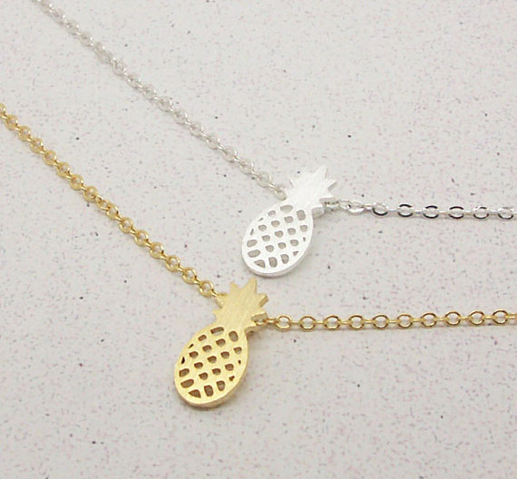 10pcs Gold and Silver Dainty Pineapple Necklaces