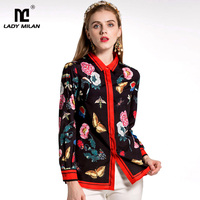 New Arrival 2018 Spring Summer Women S Turn Down Collar Long Sleeves Floral Printed Designer Fashion