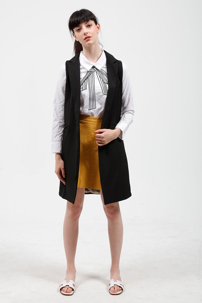 2017 wiosna nowy mody długie kieszenie turn-dół collar otwórz stitch pantone niebieski różowy beżowy czarny żakiet kamizelka bez rękawów kurtki 20
