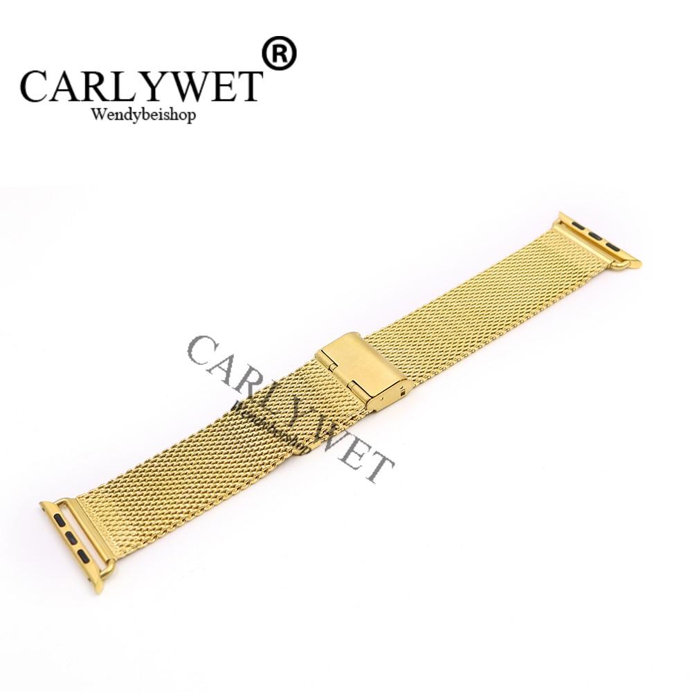 CARLYWET 38 42mm En Gros Connecteur Adaptateur Or Maille Épaisse Inoxydable Bracelet En Acier Bracelet Pour Apple Montre iWatch