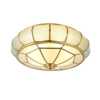 Круглый Чистый медный потолочный светильник для спальни стеклянный абажур потолочные светильники для гостиной креативный Кабинет круглый...