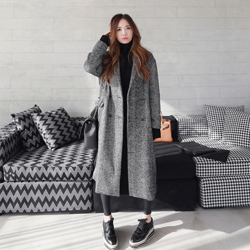 LANMREM 2019 Autumn Winter Solid Color Pockets Loose Coat Double Breasted Sashes Ladies All match Long
