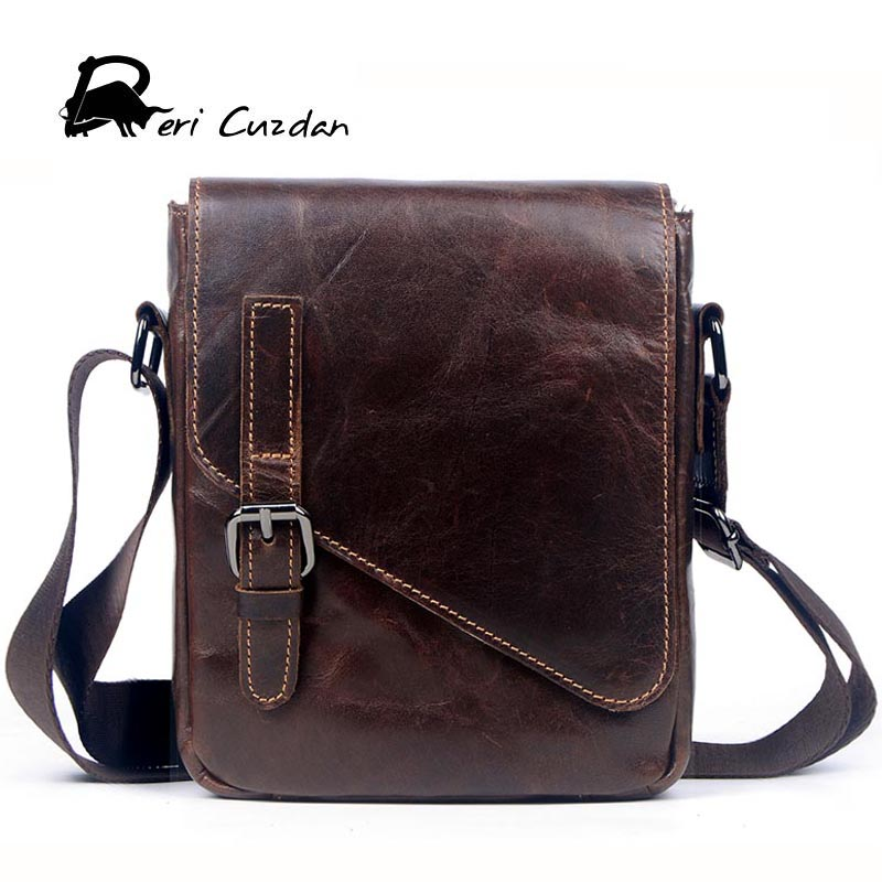 DERI CUZDAN Men Small Messenger Bags Men Luxury Genuine Leather Men Bag Designer Vintage Shoulder Bag Office Gift Bags for Men
